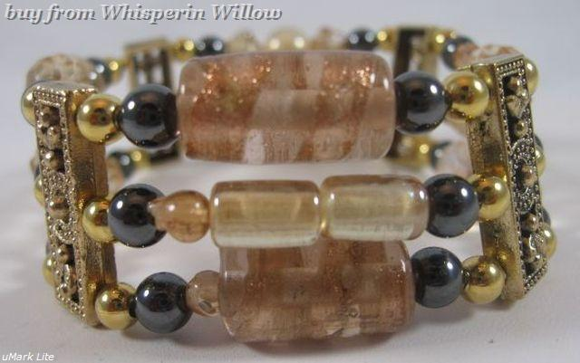 Champayne and Magnetic Hematite Gold Plated Bracelet