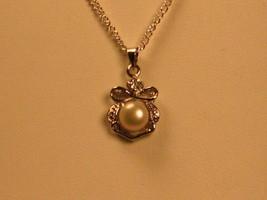 Ribbon Pearl Crystal Pendant 18 kgp - $13.00