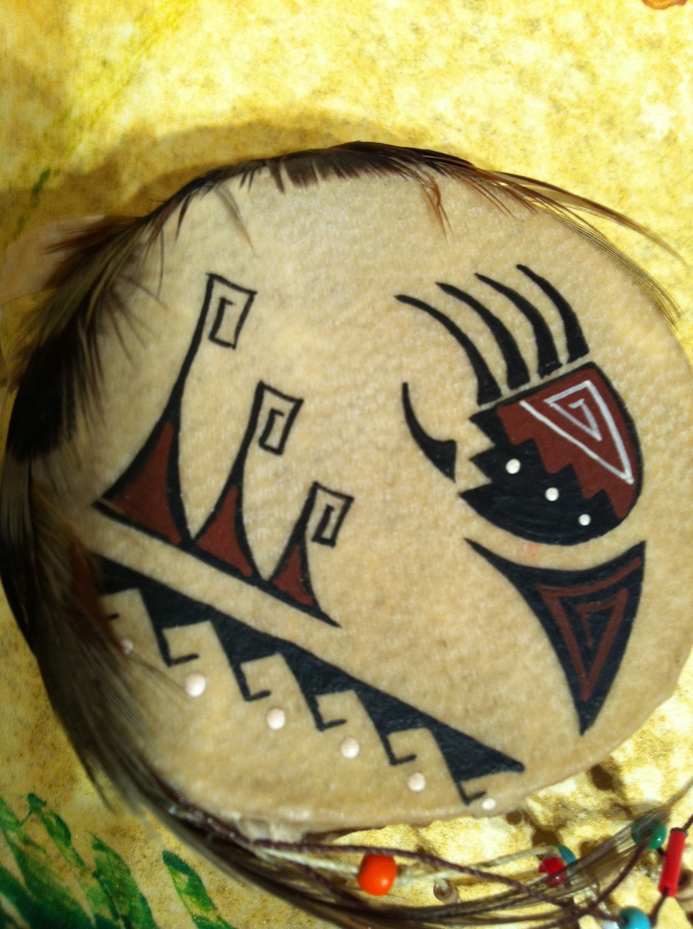 Miniature Drum depicting the Northern Lights