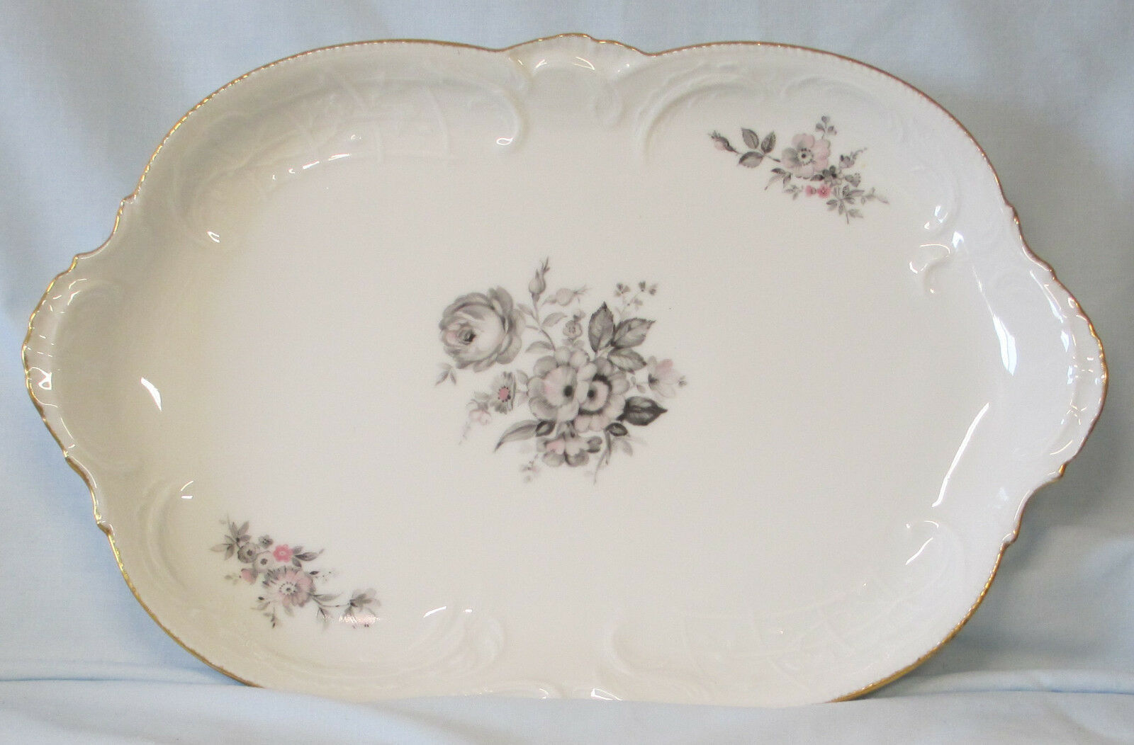 "Primary image for Rosenthal Sanssouci Grey Rose 13"" Oval Platter"