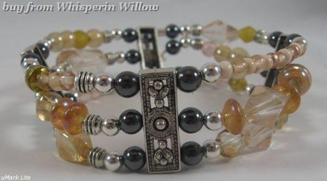 Champagne and hematite silvertone bracelet 1