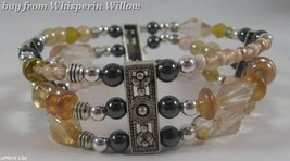 Champayne and Magnetic Hematite Silver Plated Bracelet - $16.95