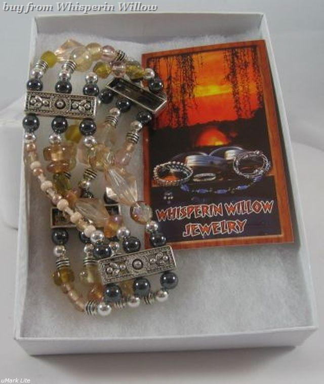 Champayne and Magnetic Hematite Silver Plated Bracelet