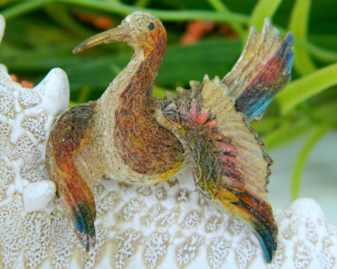 Vintage Bird Flying Figural Brooch Pin Sugar Bead Coated OOAK