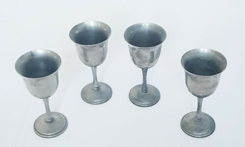 Primary image for Set Of 4 Vintage Silver Church Goblet Chalice Cup Drinking Glasses Collectable