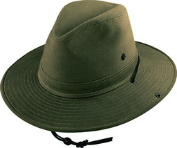 Henschel Brushed Cotton Twill Outback Hat Snap Up Brim Made In USA Olive Khaki - £39.84 GBP - £42.90 GBP