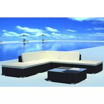 vidaXL Garden Lounge Set Poly Rattan Wicker Black Sectional Sofa Couch S... - $414.99