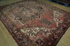 8x11 Red Heriz Wool Handmade Rust Worn-out Antique over 100 y o Persian Rug image 2
