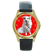 Adorable White Dog On Red GOLD-TONE Watch 9 Othr Styles - $25.99