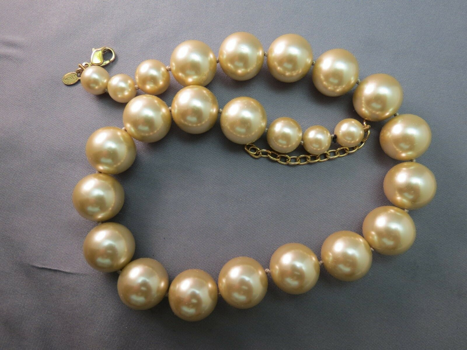 VTG Monet Big Pearl Necklace Hand Knotted Sable Cream Lobster 16mm Glass Beads image 7