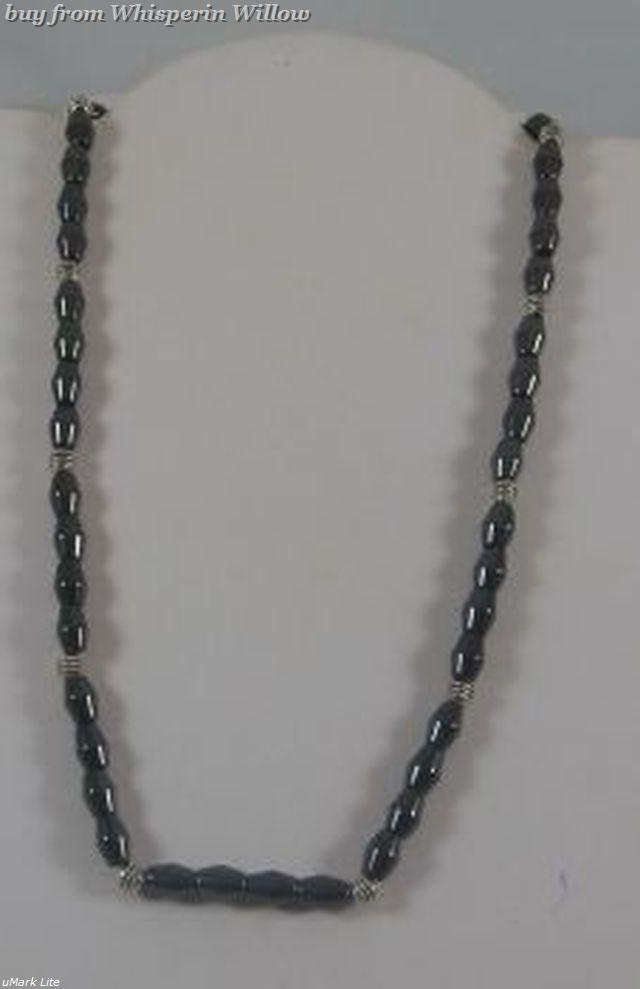 Magnetic hematite and silver necklace 1