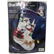 """VTG NIP Bucilla Felt Applique Winter Twilight 18"""" Stocking 83389 Sealed  - $98.99"""