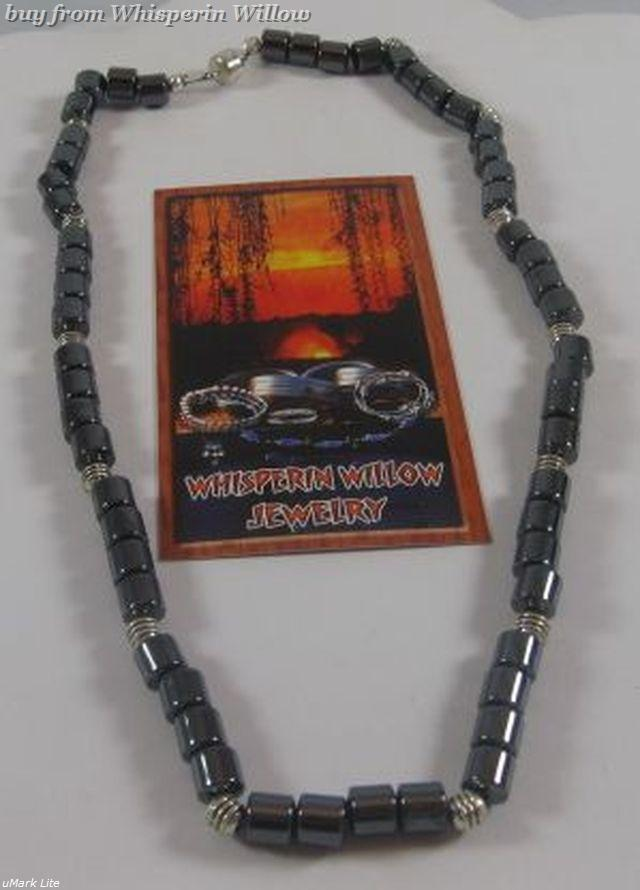 Black Magnetic Hematite and Silver Necklace