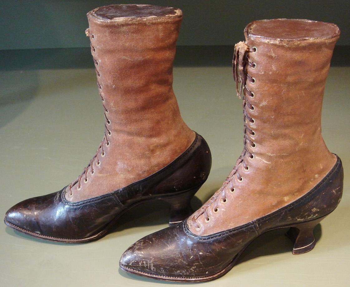 Victorian Leather Decorative Display Leather High Top Shoes
