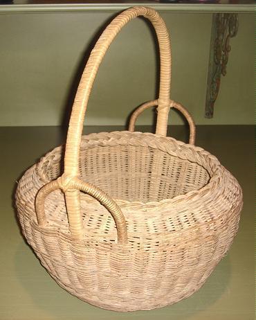 Outstanding Large Vintage Wicker Basket, Fancy Handle