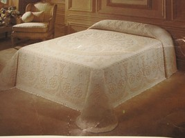 "FIELDCREST Chenille Full Bedspread Cotton Fringe 96""x110"" Cream American... - $148.49"