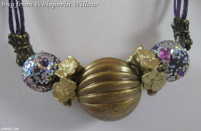 Polymer Clay and Antiqued Brass Necklace