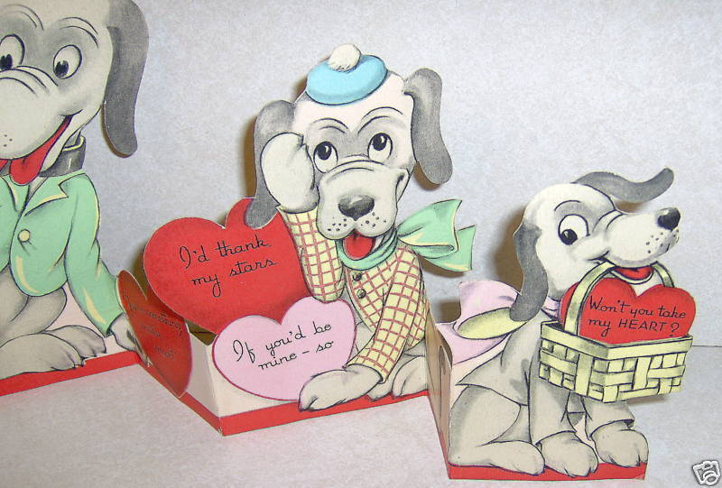 Old Vintage Fold out Puppy Dog Valentine Day Card Cute!