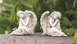 Pair Sleeping Angel Girls Left Right Facing Twin Garden Statues - €19,24 EUR