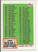 (SC-296) 1984 Topps Baseball Card #781: 661-792 Checklist - Unmarked - $0.75