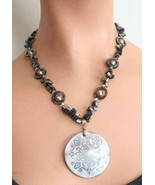 Bohemian 90s Cut Glass & Iridescent Shell Necklace - $22.95