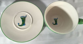 Starbucks Coffee HOLIDAY 2006 12oz Cup & Saucer Set 2Pc Green Blue Stocking image 3