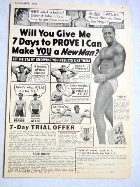 "Primary image for 1937 Charles Atlas Ad ""I Can Make You A New Man"""