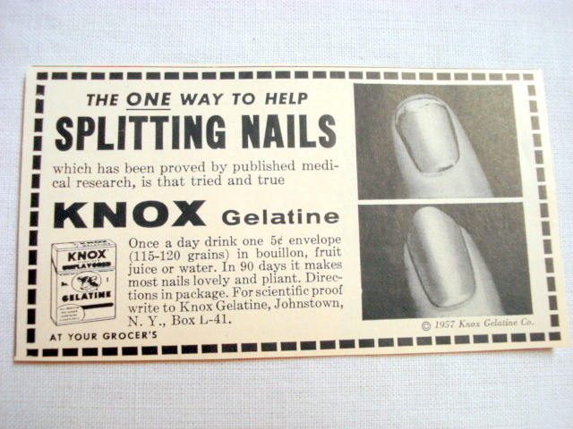 Primary image for 1957 Ad Knox Gelatine, Johnstown, N. Y. Splitting Nails