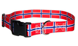 Large Norwegian Flag Dog Collar - $15.00
