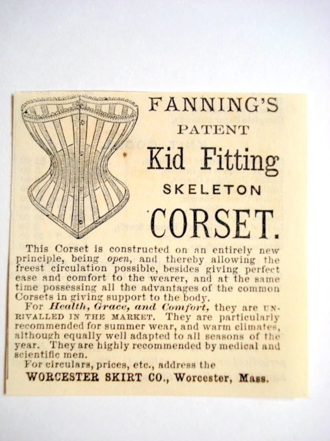 Primary image for 1870 Ad Fanning's Corset, Worcester Skirt Co., Mass.
