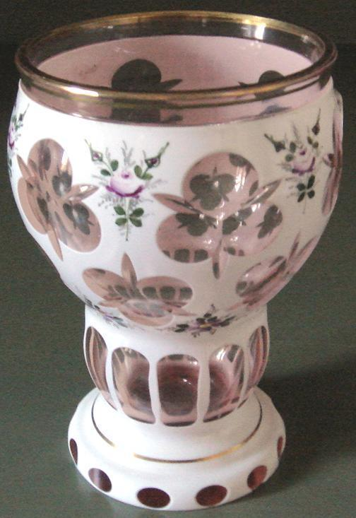 Beautiful Bohemian White Enamelled Hand Painted Vase Cut to