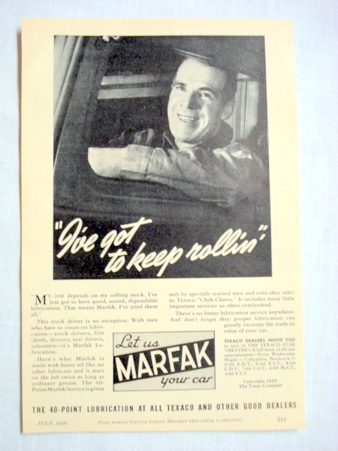 Primary image for 1939 Marfak Lubricants Ad I've Got To Keep Rollin'