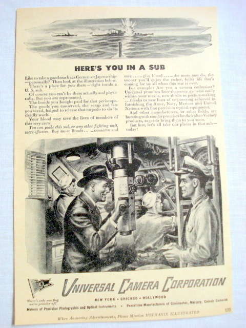 Primary image for 1943 Submarine Ad Universal Camera Corporation