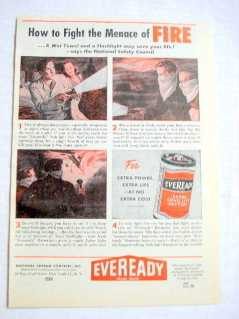 Primary image for 1946 Eveready Batteries Ad Fight the Menace of Fire