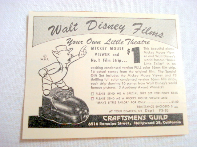 1946 Ad Mickey Mouse Viewer, Craftsmen's Guild