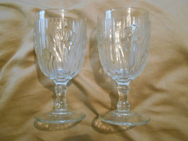 2 Old Vintage Depression Glass Crystal Clear Iris & Herringbone Stemmed ... - $19.99