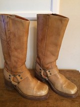 Vintage FRYE Tan Brown Leather Harness Boots 6.5 Mens 8 Womens USA Black Label - $92.57