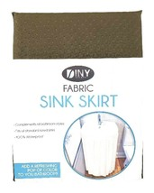 Fabric Sink Skirt Bathroom Decor  100% Waterproof Self Stick Brown - $10.84