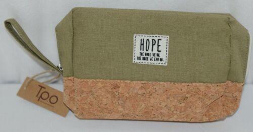 TPO Brand MP0005OV Hope Tan Cork Olive Green Canvas Zipper Travel Makeup Pouch