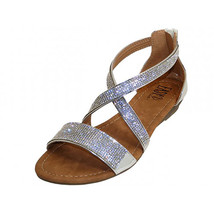Crystal Rhinestone Cross Strap Gladiator Low Wedge Silver Sandals Back Z... - $24.98
