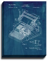 Chinese Typewriter Patent Print Midnight Blue on Canvas - $39.95+