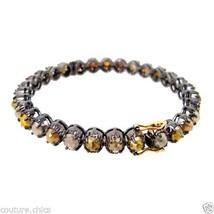 16.65ct Diamond Bangle Bracelet .925 Sterling Silver 14k Gold Women Fine... - $2,600.99