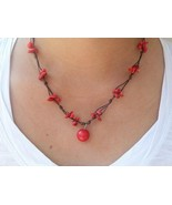 Classic Coral Bead Waxed Cotton Pendant Choker NECKLACE | Asian Inspired... - $7.52