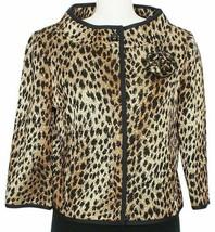 ST. JOHN Black Gold Brown Leopard Wool Blend Knit Pin Cropped Jacket 8 - $569.99