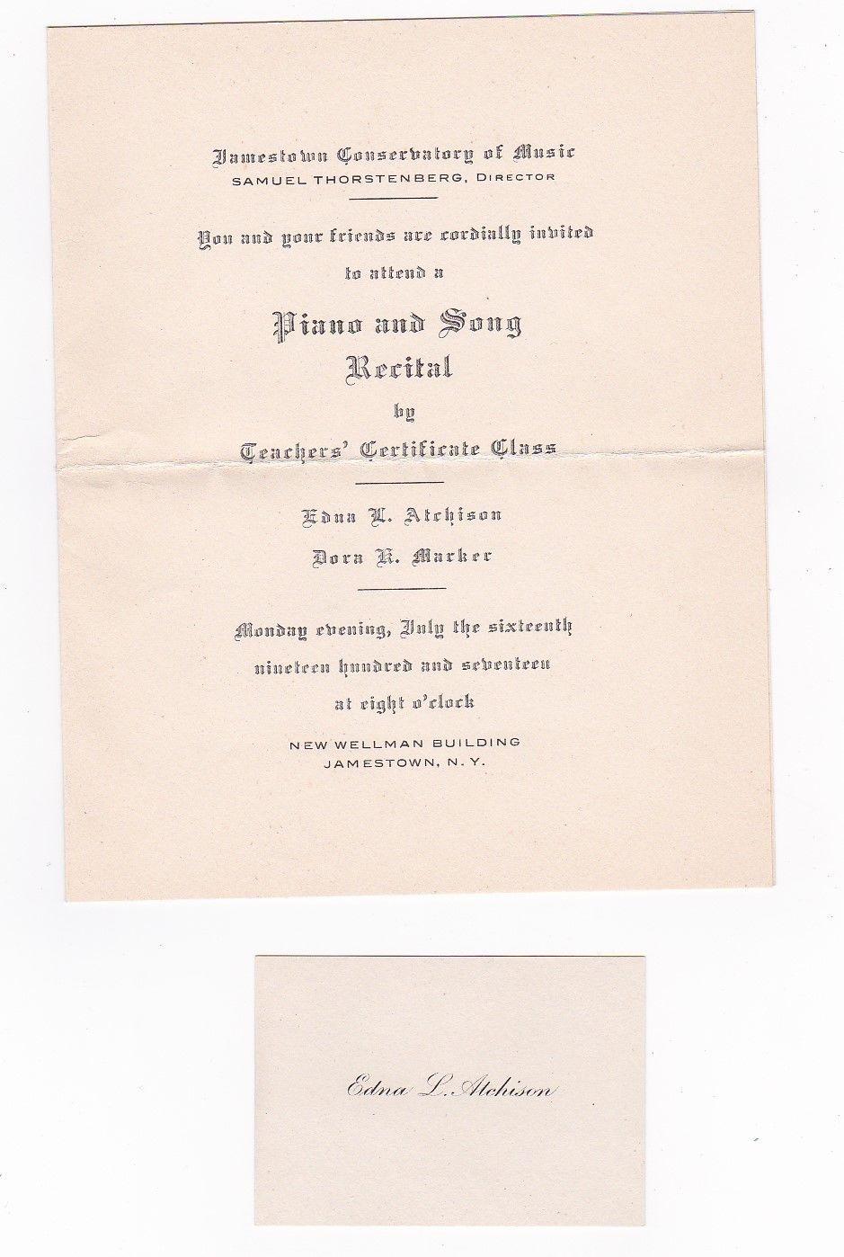 RANDOLPH NEW YORK JULY 12 1917 WITH RECITAL INVITATION