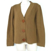 Talbots Cardigan Sweater Women Petite Size MP Brown Made in Italy Long S... - $24.74