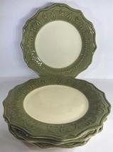 Pier 1 Imports Gemma Baroque Set of 4 Dinner Plate Italian Hand-Painted Mosstone - $49.49