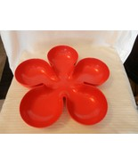 "Red Melamine Flower Shaped Chip Appetizer Serving Bowl 14.875"" Diameter - $29.70"