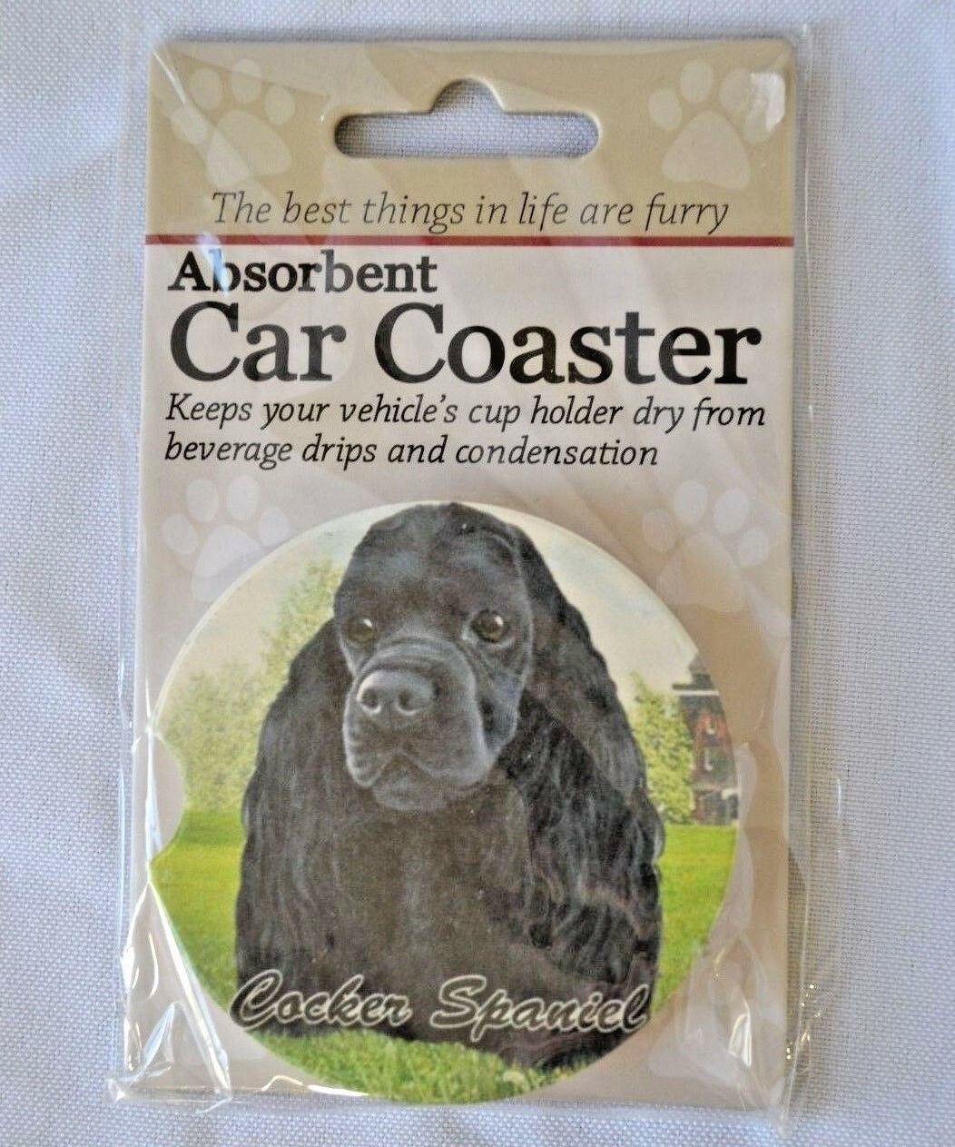 Primary image for Cocker Spaniel Black Absorbent Car Coaster Stoneware E&S Pets Dog Auto NEW