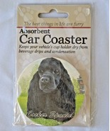 Cocker Spaniel Black Absorbent Car Coaster Stoneware E&S Pets Dog Auto NEW - $10.88